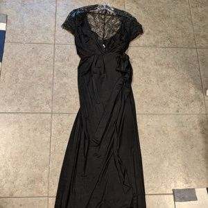 Seraphine black maternity wrap and lace dress